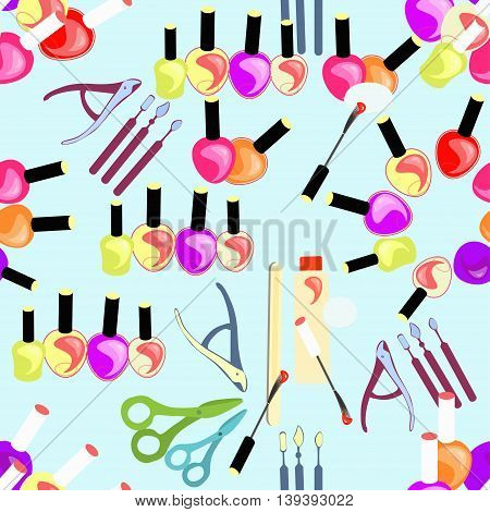 Seamless Pattern Of Cosmetics For Hands And Nails Of Girls. Vector Illustration