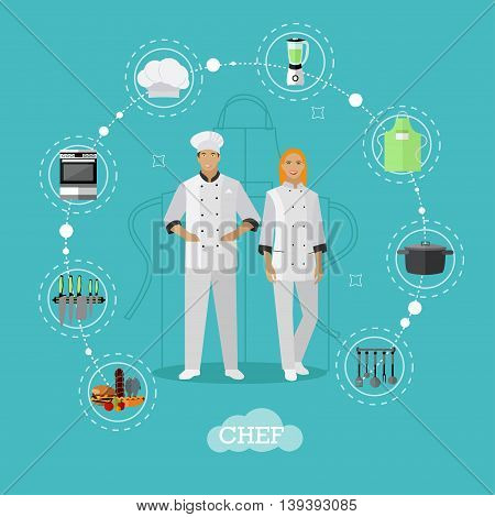 Cooking chefs characters. Vector illustration in flat style design. Woman and man chef cook.