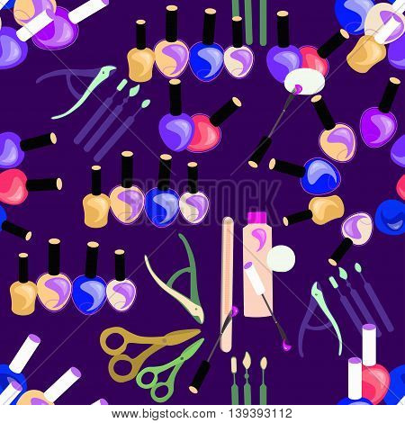 Tools Seamless Pattern Of Care For Hands And Nails Of Women In Violet. Vector Illustration