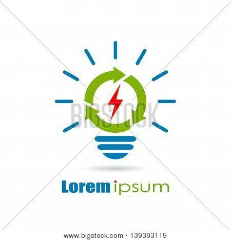 Renewable green energy logo isolated on white background