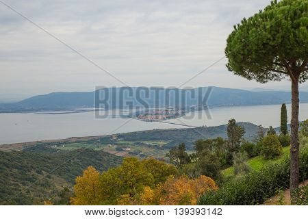 View of Orbetello lagoon view from Monte Argentario