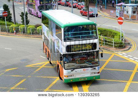 HONG KONG - NOV 9: Hong Kong double deck Bus on Nov 9, 2015 in Hong Kong Island, Hong Kong.