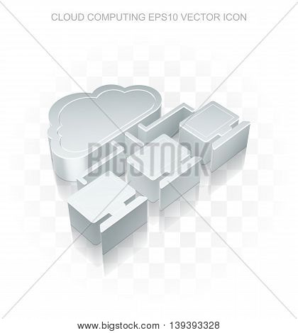 Cloud networking icon: Flat metallic 3d Cloud Network, transparent shadow on light background, EPS 10 vector illustration.