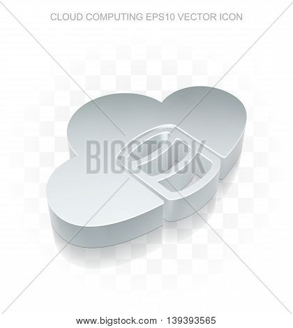 Cloud technology icon: Flat metallic 3d Database With Cloud, transparent shadow on light background, EPS 10 vector illustration.