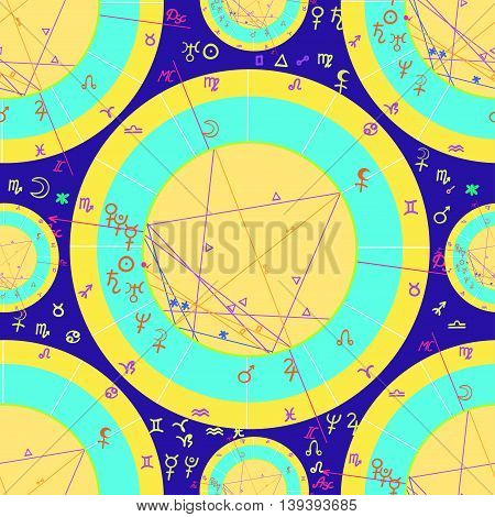Seamless Pattern Of Natal Of Astrological Cards On Purple Background. Vector Illustration