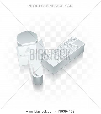 News icon: Flat metallic 3d Breaking News And Microphone, transparent shadow on light background, EPS 10 vector illustration.
