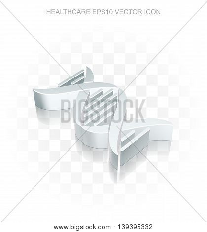 Healthcare icon: Flat metallic 3d DNA, transparent shadow on light background, EPS 10 vector illustration.