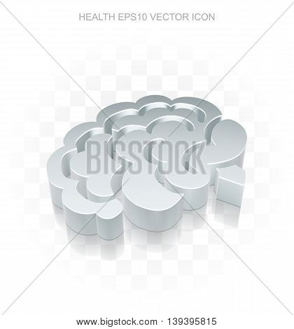 Health icon: Flat metallic 3d Brain, transparent shadow on light background, EPS 10 vector illustration.