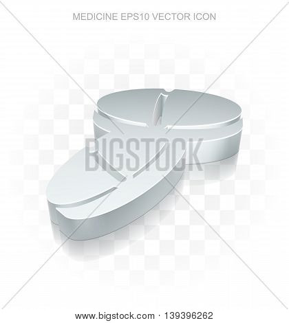 Medicine icon: Flat metallic 3d Pills, transparent shadow on light background, EPS 10 vector illustration.