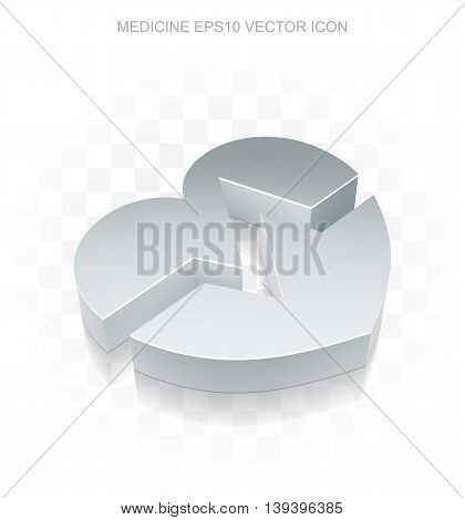 Healthcare icon: Flat metallic 3d Heart, transparent shadow on light background, EPS 10 vector illustration.