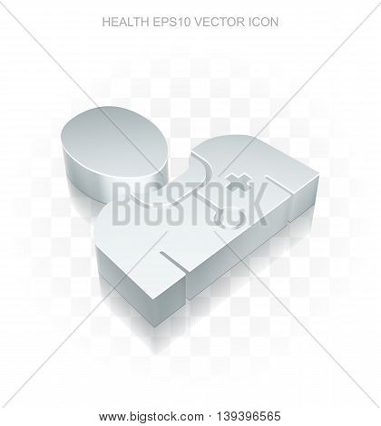 Healthcare icon: Flat metallic 3d Doctor, transparent shadow on light background, EPS 10 vector illustration.