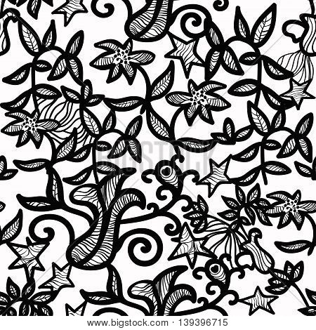 Openwork Seamless Pattern On A White Background. Vector Illustration