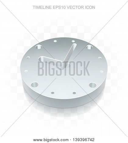 Time icon: Flat metallic 3d Clock, transparent shadow on light background, EPS 10 vector illustration.