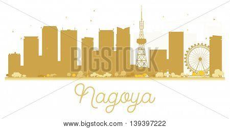 Nagoya City skyline golden silhouette. Vector illustration.