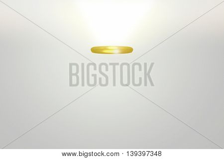 3D rendering of golden angel halo on white background