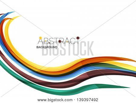 Colorful stripes wave composition, business template - geometric abstract background, swirl colorful lines - color curve stripes and lines in motion concept and with light and shadow effects