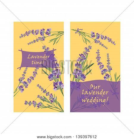 Set invitation cards with flower frame Lavender Vector illustration