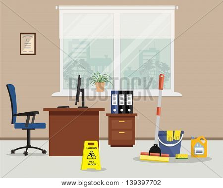 Cleaning at office concept. Vector illustration. Objects for cleaning of the room at office. There is a