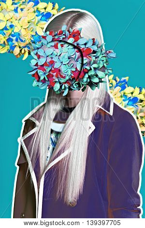 Color art hight fashion portrait vogue blond sexy model fine collage with no faces