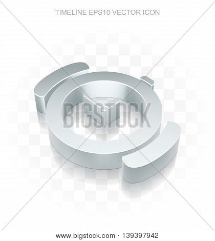 Time icon: Flat metallic 3d Watch, transparent shadow on light background, EPS 10 vector illustration.