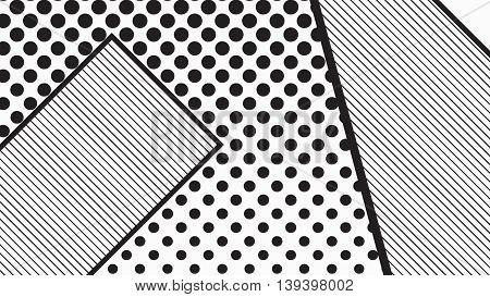 black and white pop art geometric pattern juxtaposed with bright bold blocks of squiggles, erratic images. Matterial design background elements composition. Futuristic, prospectus, poster, magazine, broadsheet, leaflet, book, billboard