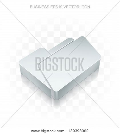 Finance icon: Flat metallic 3d Folder, transparent shadow on light background, EPS 10 vector illustration.