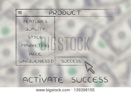Product Dropdown Menu, Select Success