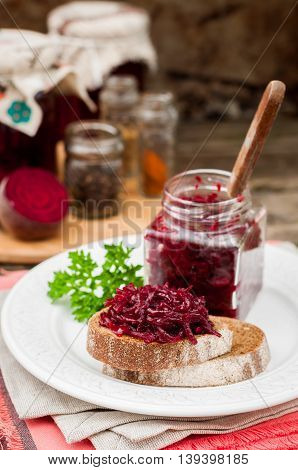 Beetroot Relish Preserves On Rye Toast