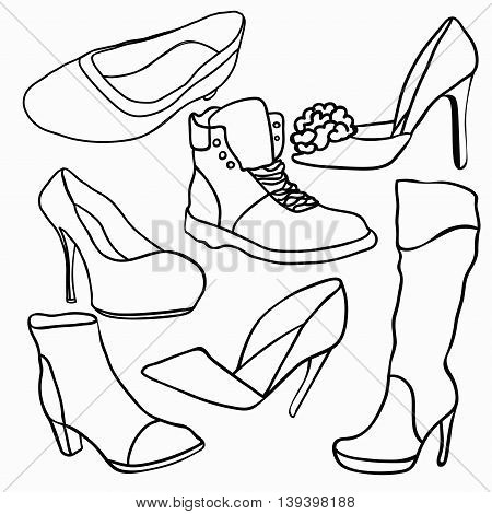 Set Of Graphics Shoes Silhouette. Vector Illustration