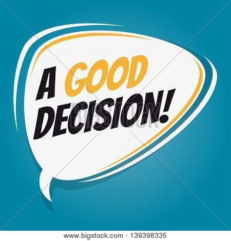 good decision retro speech balloon
