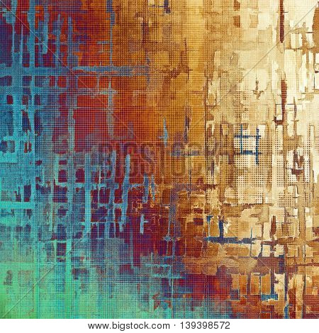 Vintage decorative texture with grunge design elements and different color patterns: yellow (beige); brown; blue; red (orange); cyan; pink