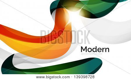 Swirl shape colorful line. Futuristic abstract background - color curve stripes and lines in motion concept and with light and shadow effects. Presentation banner and business card message design