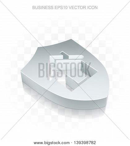 Business icon: Flat metallic 3d Shield, transparent shadow on light background, EPS 10 vector illustration.