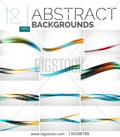Collection of abstract backgrounds - wave and swirl lines, geometric flowing motion pattern. Business and technology universal templates, bright unusual banner designs, text presentation backdrops