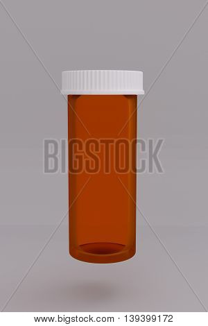 3D rendering of an empty medical pill bottle on gray background