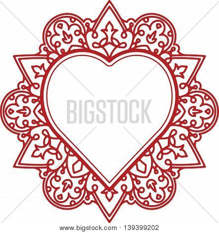 Circle lace ornament, round ornamental geometric doily pattern with heart shaped empty space for text. Vector illustration greeting, wedding invitation, Valentine's card.