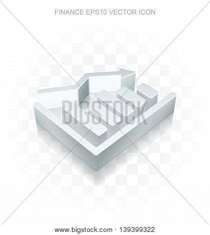 Finance icon: Flat metallic 3d Decline Graph, transparent shadow on light background, EPS 10 vector illustration.