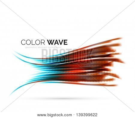 Glossy wave isolated on white background. modern futuristic curve lines, coporate identity design
