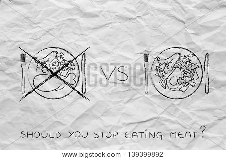 Meat Plate Crossed Out Next To Alternative Vegetarian Option