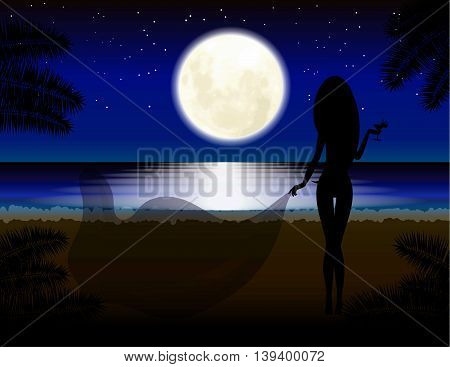 Moon, girl with glass, beach, vacation Relaxation Night landscape