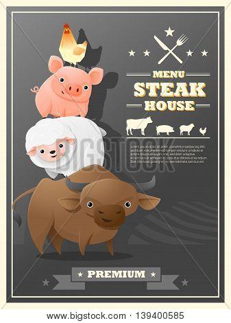 Menu steak house with farm animals , vector , illustration