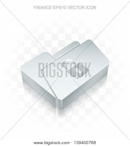 Business icon: Flat metallic 3d Folder With Lock, transparent shadow on light background, EPS 10 vector illustration.