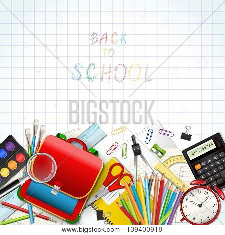 Back to school background with supplies tools hand-drawn numbers and mathematical symbols. Place for your text. Layered realistic vector illustration.