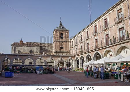 Avila, Spain - August 5, 2011 : View of market square of medieval Avila town. Castile and Leon