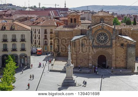 Avila, Spain - August 23, 2012: Church San Pedro of Avila in medieval town Avila Castile and Leon