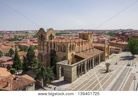 Beautiful panoramic view of the historic Basilica de San Vicente in Avila Castilla y Leon Spain