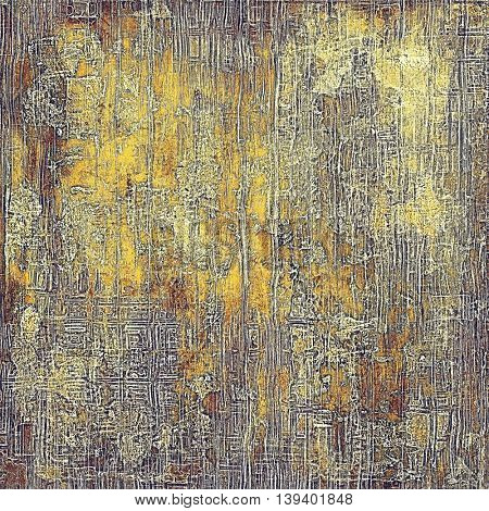 Old-style dirty background with textured vintage elements and different color patterns: yellow (beige); brown; gray; red (orange); purple (violet)