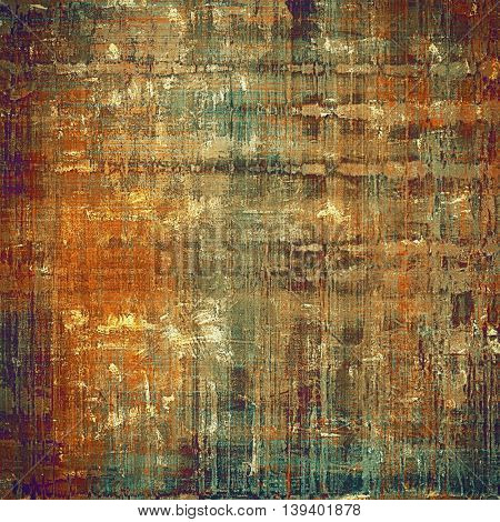 Old-style dirty background with textured vintage elements and different color patterns: yellow (beige); brown; gray; green; red (orange); purple (violet)