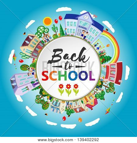 Back to school. Decorative kids round emblem poster. Flat. Vector illustration
