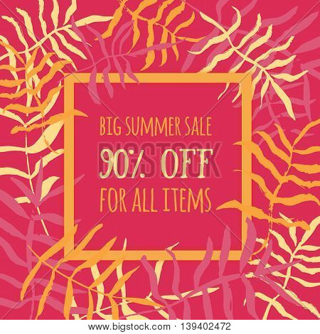 Summer sale poster, banner with tropical leaves. Vector promotion illustration